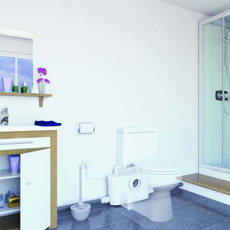 Sanibroyeur Sanipro XR UP - installed in a bathroom