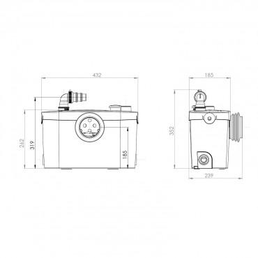 SFA Sanibroyeur Sanipro XR UP broyeur dimensions