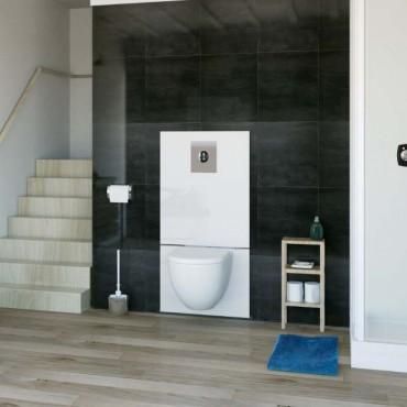 SFA sanibroyeur saniwall pro up fecaliënvermaler met grohe frame en glaspaneel in badkamer