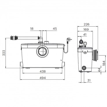 SFA sanibroyeur saniacces broyeur dimensions