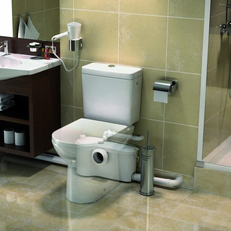 SFA sanibroyeur sanibest pro fecaliënvermaler achter toilet