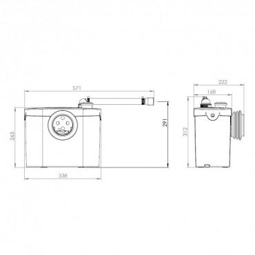 SFA sanibroyeur X2 up dimensions