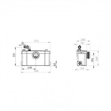 SFA sanibroyeur saniplus broyeur dimensions