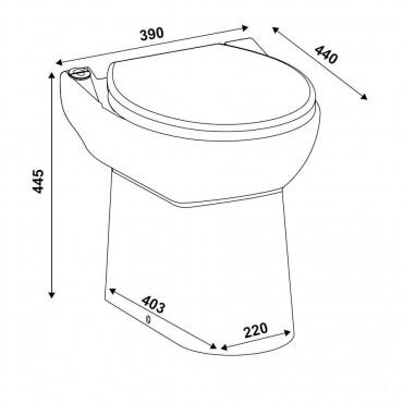 SFA sanicompact C43 toilet met fecaliënvermaler afmetingen