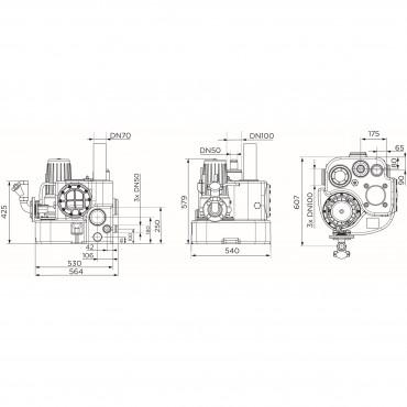 SFA sanibroyeur sanicubic 1 GR vuilwater opvoerinstallatie afmetingen