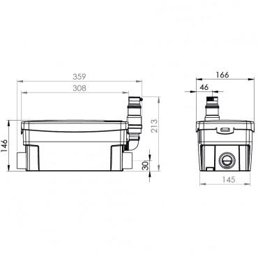 SFA sanibroyeur sanidouche pompe de douche dimensions