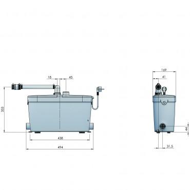 SFA sanibroyeur saniacces pompe domestique dimensions