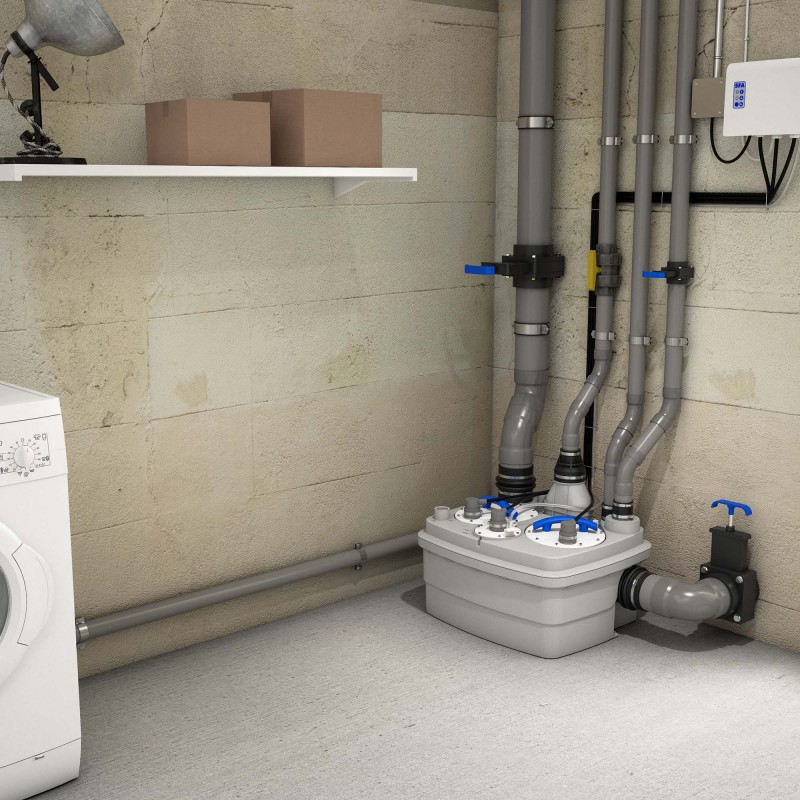 SFA sanibroyeur sanicubic 2 classic vuilwater opvoerinstallatie in kelder