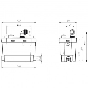 SFA sanibroyeur sanivite pompe domestique dimensions